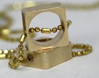 "bead frame 7 mm Brass bead frame 25 pcs Raw Brass square cube 8 x 8 mm 5/16"" x 5/16""  (7 mm 9/32"" hole ) 1269R tmlp"