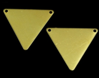 40 pcs 22x25 mm raw brass triangle tag 2 hole connector charms ,findings R629TD-40