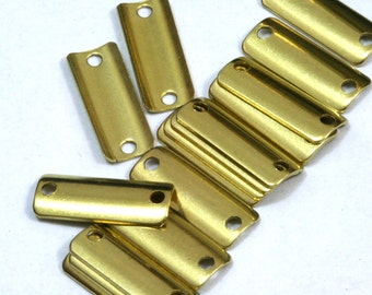 100 pcs Raw Brass 6x15 mm curved rectangle 2 hole connector Charms ,Findings 614R-36 tmlp