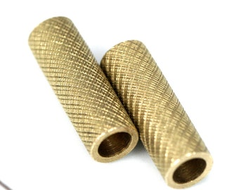 Raw brass tube 6 x 18 mm (hole 4 mm) brass charms, findings spacer bead ttt618 bab4