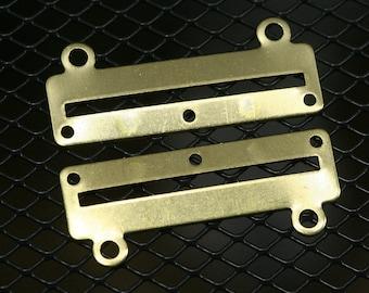 10 pcs 35 x 14 x 0.8 mm raw brass bracelet part 3 hole 1353R3A RBBP ( stamping )