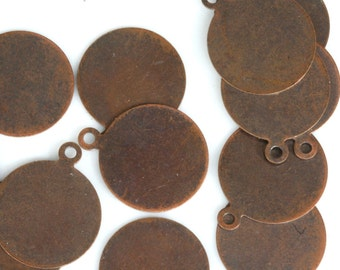 50 pcs antique copper tone brass 13 mm circle tag charms, findings 90AC-30