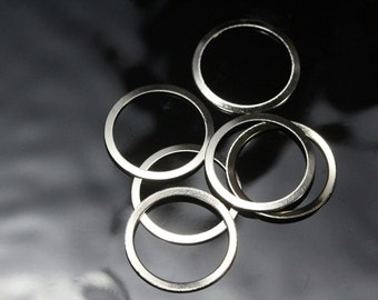 brass ring circle 100 Pcs 19 mm nickel plated charms, findings 448N-36