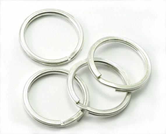 75 GOLD ~Sturdy Metal 150 HEART Shape KEY RINGS ~ 32mm Split Ring ~ 75 SILVER
