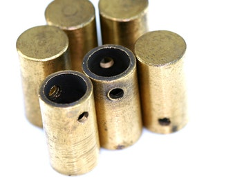 5 Pcs Raw Brass cylinder 10 x 18 mm (hole 7.5 mm 2.5 mm) industrial brass Charms,Pendant,Findings