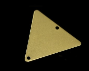 60 pcs 22x25 mm raw brass equilateral triangle tag 2 hole connector charms ,findings 926RMD-60