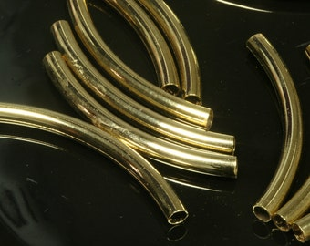 brass curved tube 8 pcs  4 x 42 mm (3 mm hole) gold plated finding charm pendant 718