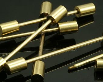 Raw brass barbell,  4 pcs 6x55mm 2 mm bar,raw brass pendant, finding , pendant finding bb2-35 1502