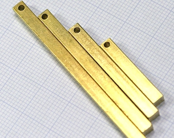 """raw brass bar square stamping bar 40 pcs mixed square rod (2mm 5/64"""" 12 gauge hole ) sbl4"""