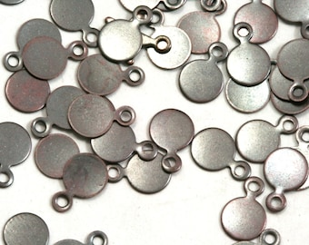 200 Pcs Antique Copper Tone Brass 6 mm Circle tag Charms ,Findings 88AC-24 tmlp