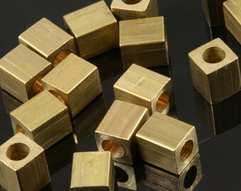 "Raw Brass square spacer 10 pcs 5 x 6 mm 3/16"" x 1/4""  finding square industrial design (3 mm 1/8"" 9 gauge hole ) bab3"