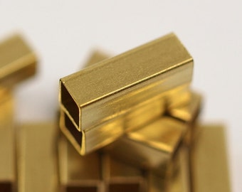 25 Pcs Raw Brass Square Tube 12 x 4 mm (hole 3.4 mm) industrial brass Charms,Pendant,Findings spacer bead E124S41