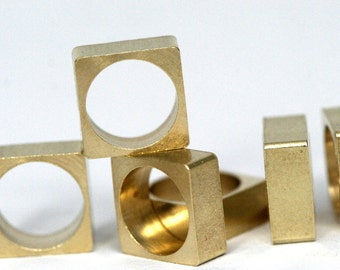 """25 pcs Raw Brass square 8 x 8 mm 5/16"""" x 5/16""""  finding square industrial design (7 mm 9/32"""" hole ) 1271R"""