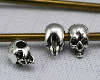 Nickel plated Skull spacer 12 mm (hole 3,6 mm) Skull Findings spacer bead 1428 bab3