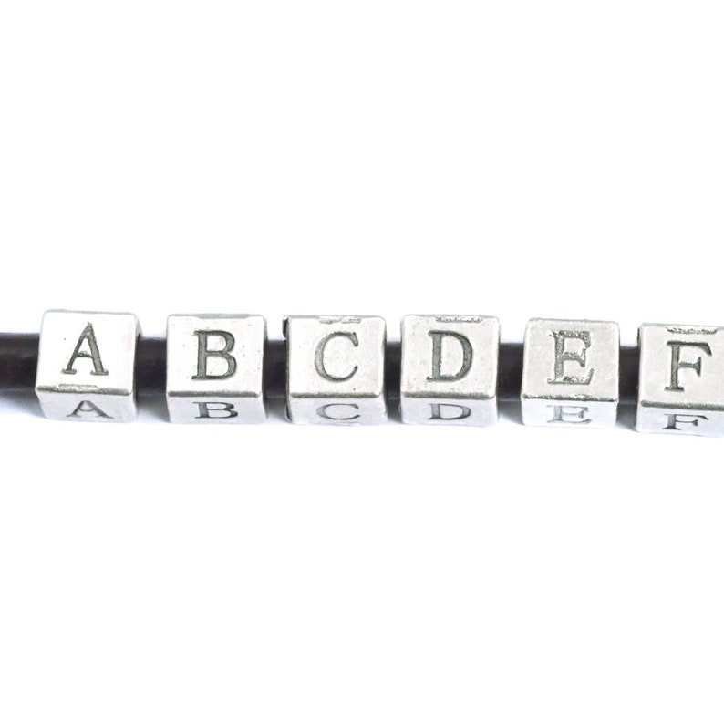 4.8mm for 4mm leather bab4 N85 Cube initial letter silver plated 6x7mm