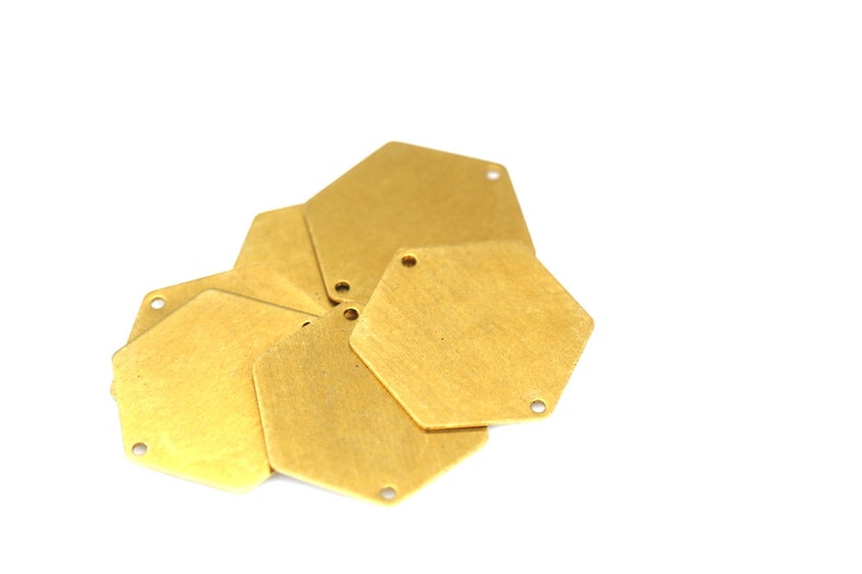 2 hole charms 0,8 mm 20 gauge 6 pcs 30 mm raw brass hexagonal stamping findings 972RX