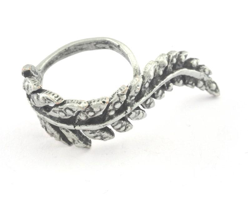 Leaf Adjustable Ring Antique Silver Plated brass OZ3263 20mm 10US inner size
