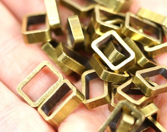 "Rectangle Bead spacer 10 pcs L225 Raw Brass  8 x 12 x 2,5 mm 0,314"" x 0,47"" x 0,1  finding industrial design bab611"