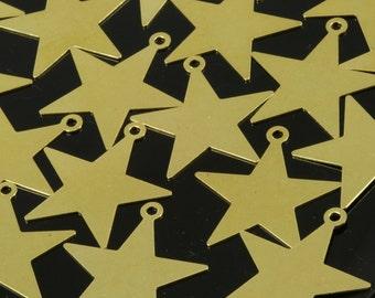 50 Pcs Raw Brass Star 24x23 mm Charms ,Findings 493R-44