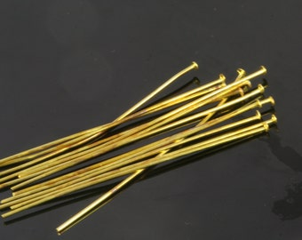 Brass head pin 100 pcs 60 mm 20 gauge( 0,80 mm ) raw brass HR6020