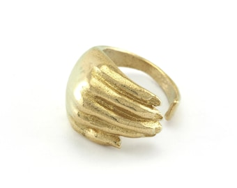 Hand Adjustable Ring Raw brass (18mm 8US inner size) OZ2739