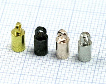 cord  tip ends, 4 X 9 mm 3.5 mm inner with (1.6 mm) loop ribbon end, ends cap, findings ENC3 1763
