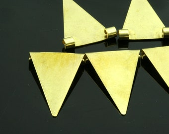 raw brass triangle pendant 50 pcs 16x25 mm 2 ( hole 2,5 mm 10 gauge ) raw brass connector charms ,raw brass findings 937R-44