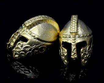 roman helmet 4 pcs  gold plated 2 hole Pendant  12 mm findings spacer bead babM882