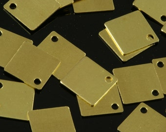100 Pcs Raw Brass 9 mm Square tag Charms ,Findings 157R-35