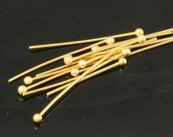 Ball head pin 50 pcs 30 mm 21 gauge( 0,7 mm ) gold plated brass Head Pin Ball end 198