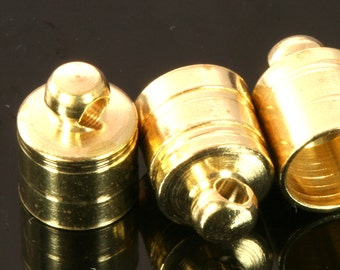 20 pcs 6 X 11 mm 5 mm inner with loop raw brass cord  tip ends, raw brass ribbon end, raw brass ends cap, findings ENC5 1754