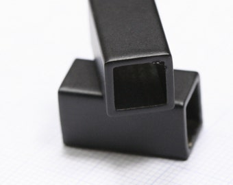 Black painted brass cube 10 x 10 x 20 mm (hole 8.8 mm) industrial brass charms,pendant,findings spacer bead bab8 1538