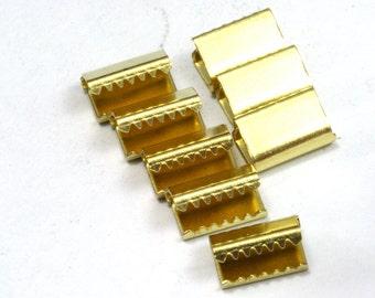 40 pcs 6x9 mm Raw Brass Ribbon Crimp Ends, Raw Brass Ribbon Crimp End, Ribbon Crimp Ends cap,, Findings R535