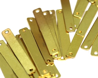 100 pcs raw brass 4x25 mm raw brass rectangle 2 hole connector raw brass charms ,raw brass findings 652R-36