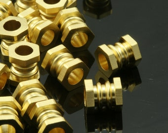 10 pcs  7x6mm ( 3,5mm hole) gold plated brass round tube finding charm bab3 773