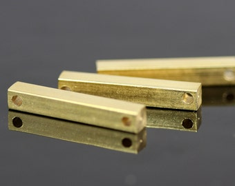 """Raw brass bar connector 4x25mm 0,16""""x1""""  square stamping bar, square rod (2mm 5/64"""" 12 gauge hole ) sbl425-1098W"""