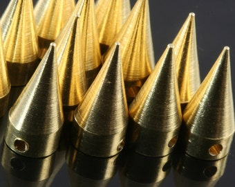 "5 pcs Raw Brass Spike 7x16 mm 9/32"" x  5/8""  Raw Brass finding industrial design (2 mm 5/64"" 13 gauge hole ) pendulum R1147"