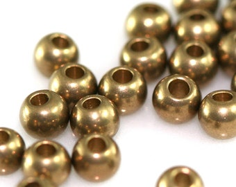 100 pcs 3 mm 18 gauge 1 mm Raw Solid Brass Spacer Bead , Findings bab1 1455