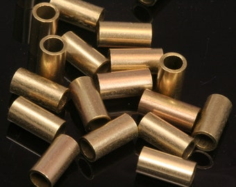 Raw brass tube 30 pcs 5x5mm (hole 4 mm) industrial brass charms,findings raw brass spacer bead bab4