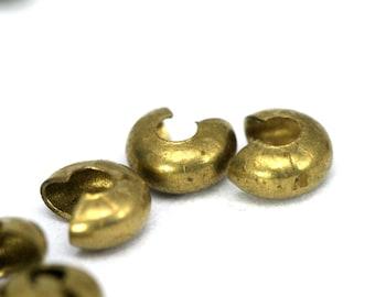 100 pcs 3 mm raw brass crimp cover, End Cap, Finding,  1338R-3-5 CB