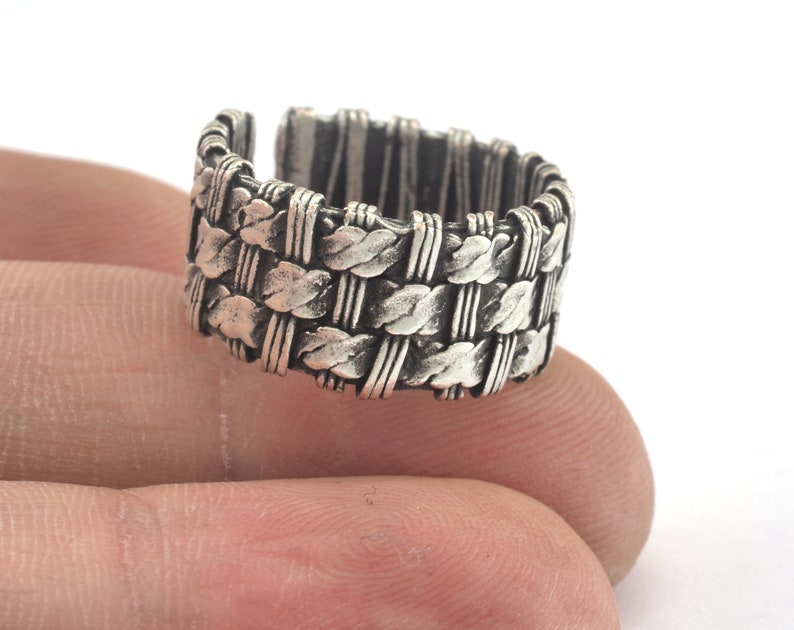 17mm 7US inner size OZ3186 Mesh Ring Adjustable Ring Antique Silver Plated Brass