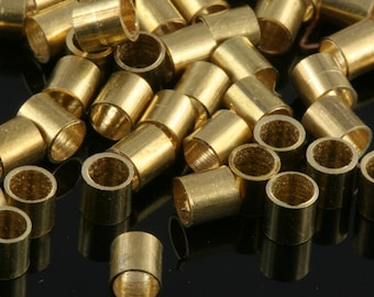 Raw Brass Tube 100 Pcs 3 x 3 mm (hole 2,2 mm 12 gauge) industrial brass Charms,Pendant,Findings spacer bead bab2Tu5,8