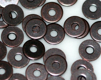500 Pcs Antique Copper Tone Brass 4,5 mm Circle tag Charms ,Findings 82ACT-30 tmlp