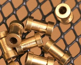 "Raw brass round spacer 4 x 7 mm 5/32"" x 9/32""  finding industrial design (2 mm 5/64"" 12 gauge hole ) bab2 1223R tmlp"