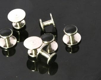 6 pcs  10 x 8,5 mm Nickel plated cufflink Brass Studs, Shirt Collar Tuxedo Stud, 1698