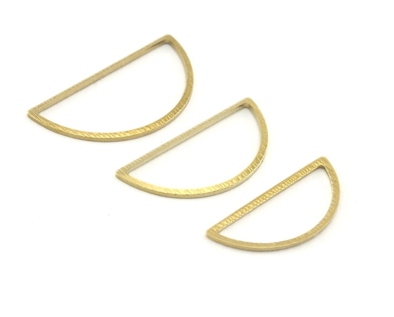 scs Raf4 Semi circle Brushed frame half moon raw brass charms findings connector 3 sizes 28x14mm - 26x12mm - 23x10mm