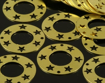 40 Pcs Raw Brass 20 mm Circle star 2 hole connector Charms ,Findings 152R-34