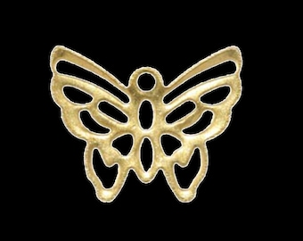1000 pcs 12x15 mm raw brass butterfly charms ,findings 524R