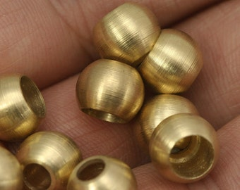 10 pcs  9.8 x 7.8 mm ( holes 6.5 mm 4.5 mm ) raw solid brass spacer, raw brass decorative cord end beads, hanging metal beads ENC6 1237R