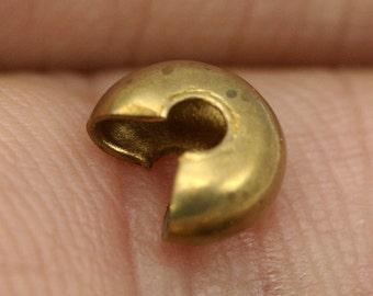 60 pcs 6 mm raw brass crimp cover, End Cap, Finding,  1341R-6-12 CB